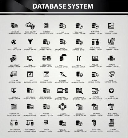 datensicherheit: Database System-und Datensicherheit Icons, Vektor