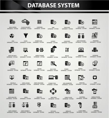 Sistema de base de datos y seguridad de datos, iconos vectoriales