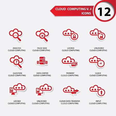 Cloud computing icons set 2,Red version,vector Vector