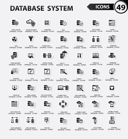 Database,Server computer,Data security,Technology icons,Black version,vector Illustration