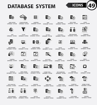 version: Database,Server computer,Data security,Technology icons,Black version,vector Illustration