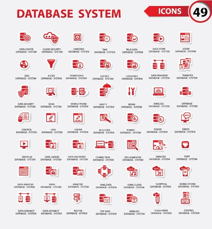 cloud search: Database,Server computer,Data security,Technology icons,Red version,vector