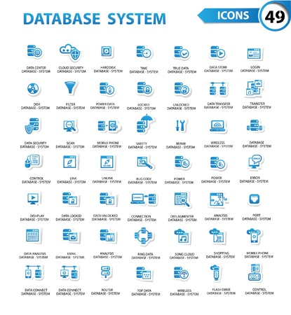 Database Server-computer, beveiliging van gegevens, technologie pictogrammen, blauwe versie, vector