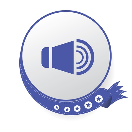 Sound on blue button,White background Vector