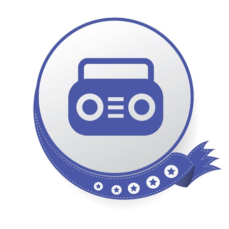 Radio on blue button,White background Stock Vector - 21123417