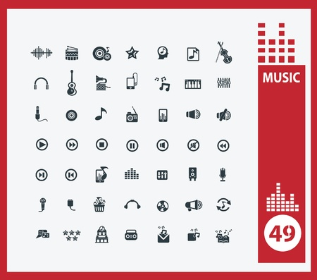 music buttons: Music icons