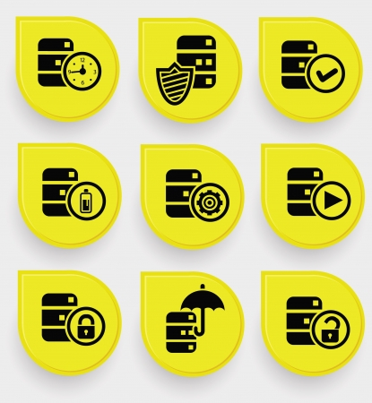 Database icons on yellow buttons Vector