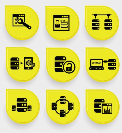 data storage: Analysis, Database system icons on yellow buttons