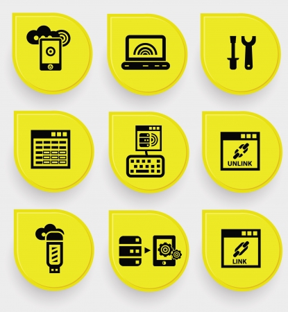 dish disk: Database system icons on yellow buttons