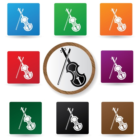 Violin icons on colorful buttons Vector