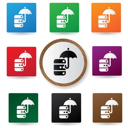 Security data center icons on colorful buttons Stock Vector - 21123462