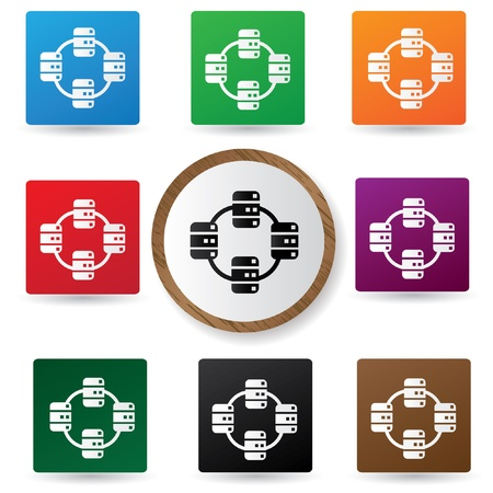 Link icons on colorful buttons Stock Vector - 21123465