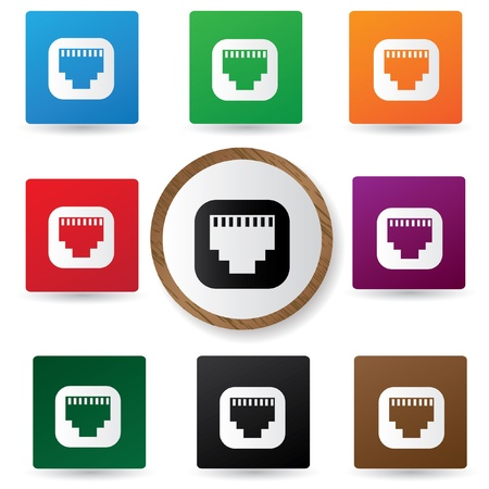 Link icons on colorful buttons Vector