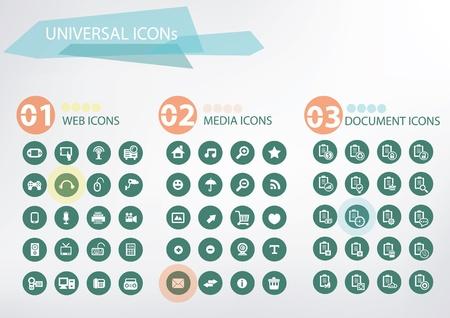 feed back: Web, Media, Office icons