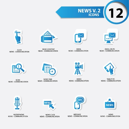 news van: News icon set 2,blue version vector Illustration