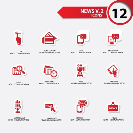 news van: News icon set 2,red version vector