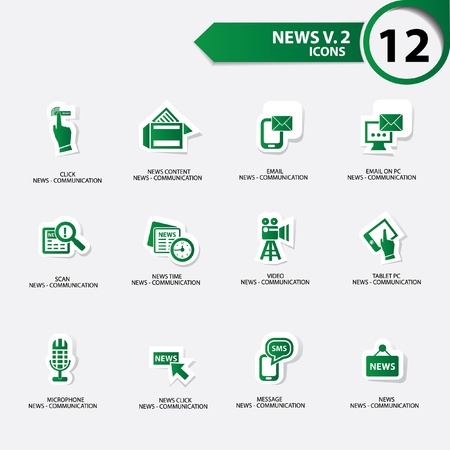 News icon set 2,Green version vector Stock Vector - 21283142