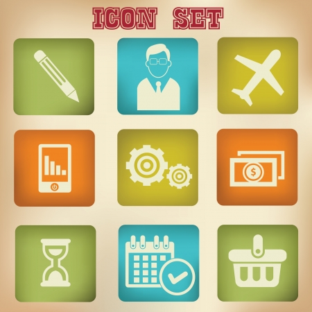 Business concept vintage icons,vector Vector