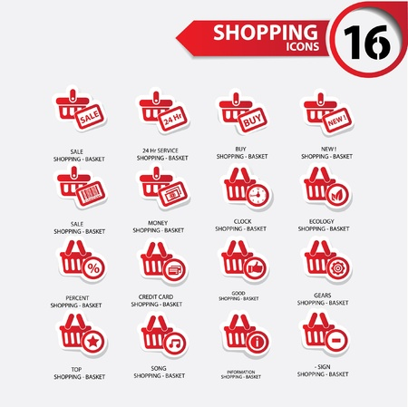secured payment: Shopping icons,Red version,vector