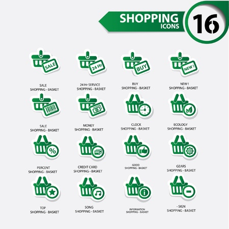 Shopping icons,Green version,vector Vector