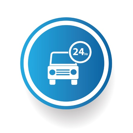 24 hr: 24 Hr car service symbol,vector
