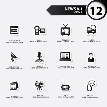 news van: News icon set 1,black version vector