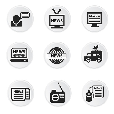 news van: News icons,on white background vector Illustration