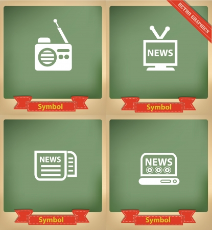 news van: News icons on blackboard,vector