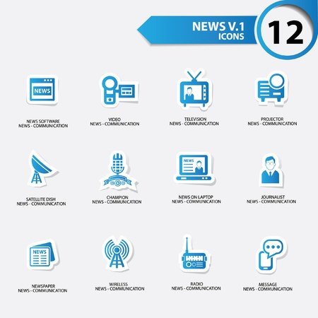 news van: News icon set 1,blue version vector