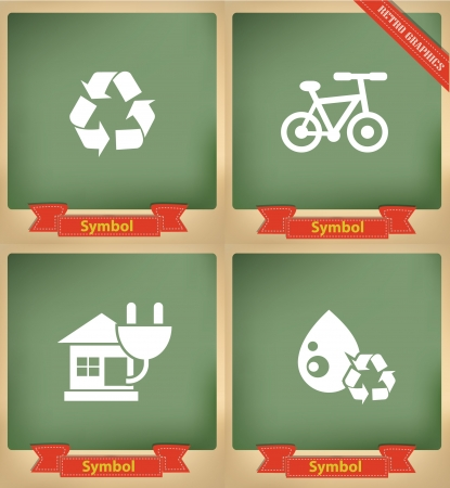 Ecology icons on blackboard,vector Vector