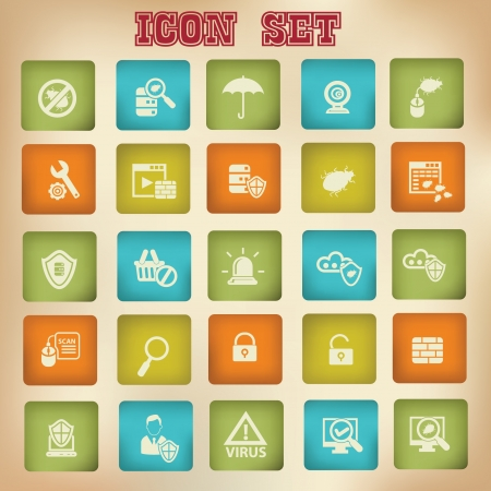 Security computer vintage icons,vector Stock Vector - 21283207
