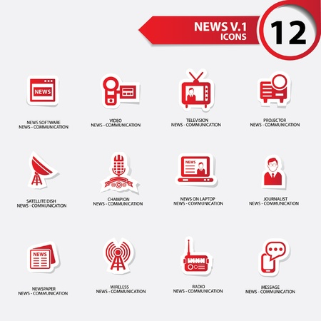 news van: News icon set 1,red version vector