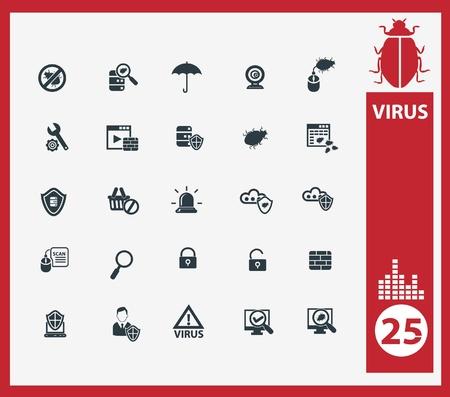 virus informatico: Los iconos de ordenador de virus, vector