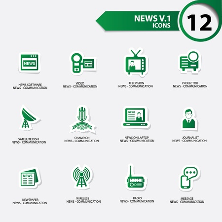 news van: News icon set 1,green version vector