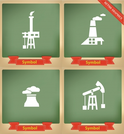 Industry icons on blackboard,vector Vector