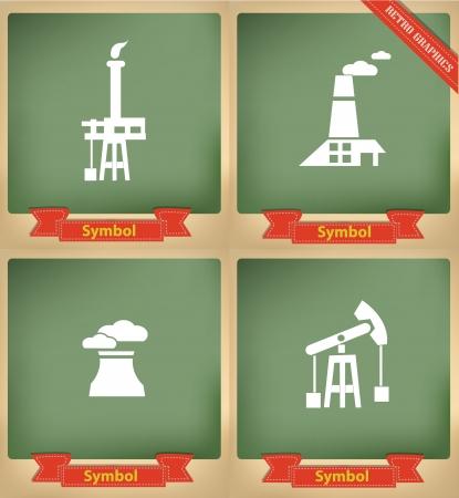 Industry icons on blackboard,vector Stock Vector - 21283230