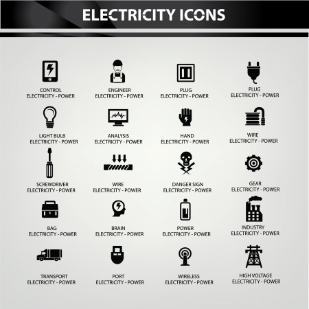 power grid: Electricity icons,Black version,vector