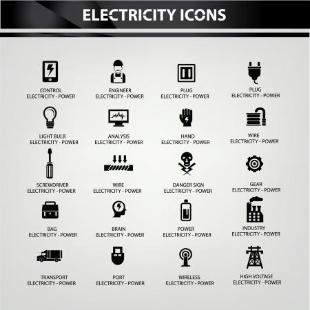 benzine: Electricity icons,Black version,vector
