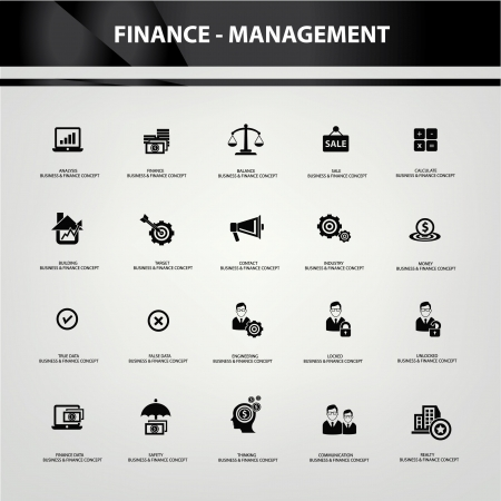 Business and finance icons,Black version,vector Vector