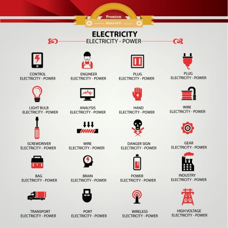 coal power station: Electricity icons,Red version,vector