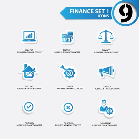 Finance and business concept icons,Blue version,vector Vector