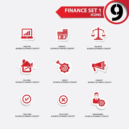 Finance and business concept icons,Red version,vector Stock Vector - 21283262