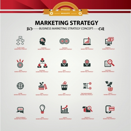 marketing research: Marketing strategy icons,Red version,vector