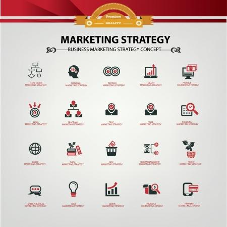 Marketingstrategie pictogrammen, Rode versie, vector