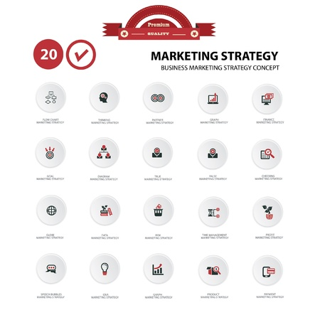 Marketing strategy icons,White background version,vector Vector