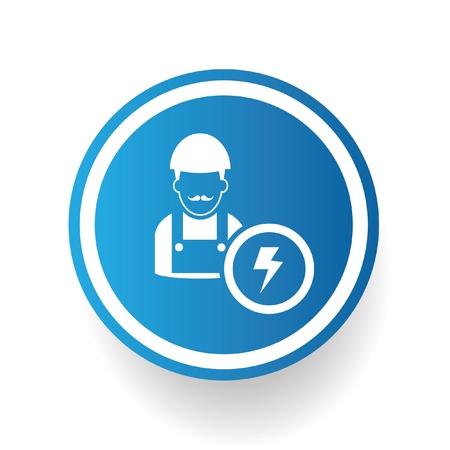 skid steer: Engineering symbol ,blue button,vector Illustration