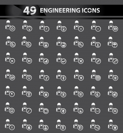 construction dozer: 49 iconos de ingenier�a, vector