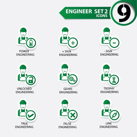 Engineering worker icon set 2,Green version,vector Vector