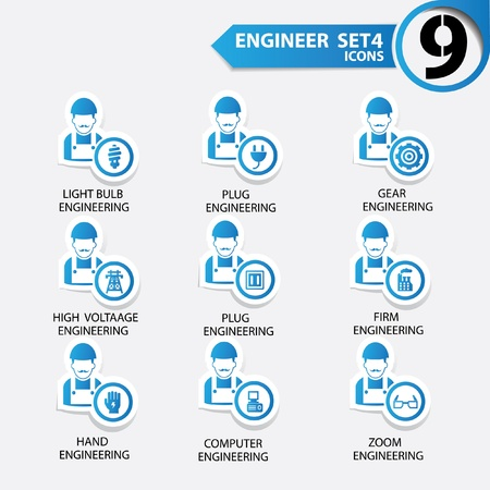 electrical engineer: Engineering icon set 4,Blue version,vector Illustration