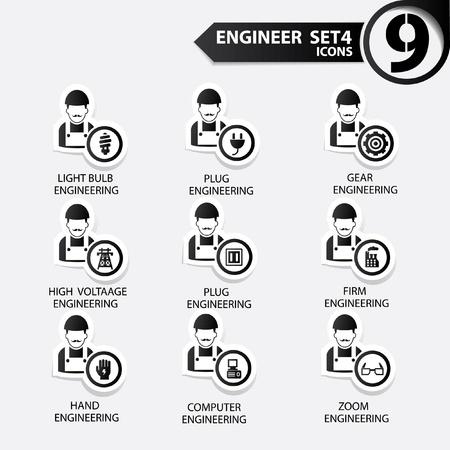 superintendent: Ingenier�a icono conjunto 5, versi�n Negro, vector Vectores